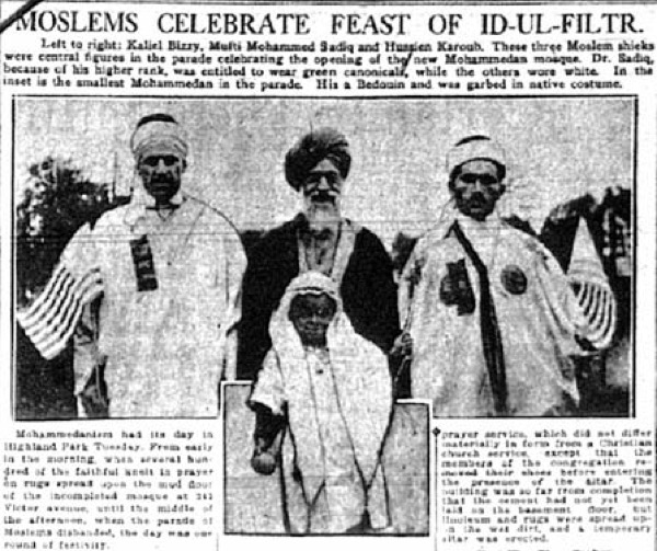 Opening ceremony of the Muslim Mosque of Highland Park, July 1921.