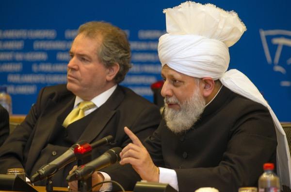 His Holiness, Hazrat Mirza Masroor Ahmadaba at the European Parliament. © Makhzan-e-Tasaweer