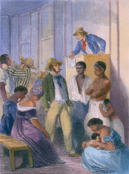 Slave market in the United States in the 1850s: there was a vigorous internal slave trade with wealthy traders who transported slaves to the newly opened lands west of the Mississippi river. © Shutterstock | Everett Historical