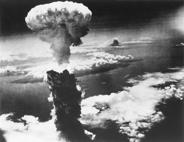 Mushroom cloud of atom bomb exploding over Nagasaki in Japan during the war. © Everett Historical | Shutterstock.com