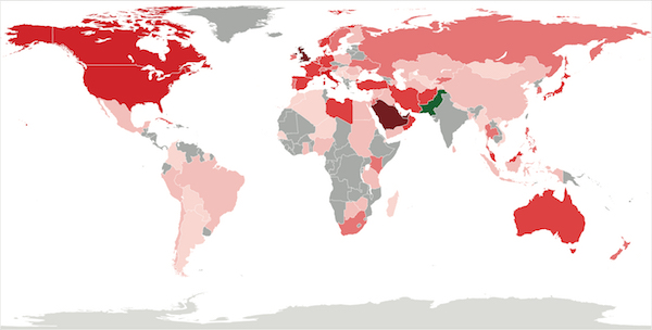 The Pakistani diaspora has reached its climax with many eeing the land and moving abroad to the West and other parts of the world. The map highlights the areas that Pakistani citizens are now living because of increased tension, corruption, violence and mistreatment in their homeland. (Accessed via Wiki Commons)