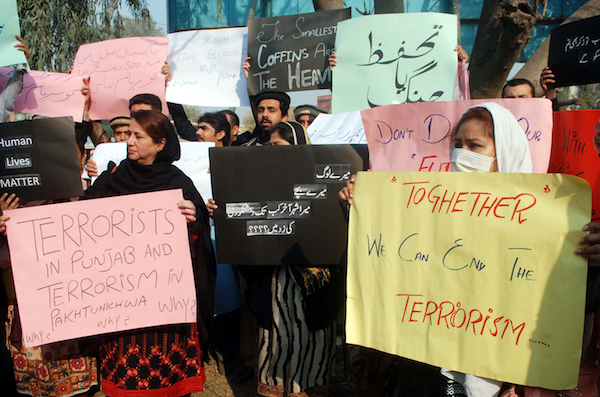 Protests are held by ordinary citizens because of the increasing tension in Pakistan as well as the rising threat of terrorist attacks which has de-stabilised the nation and is destroying peace. © Asianet-Pakistan   Shutterstock.com