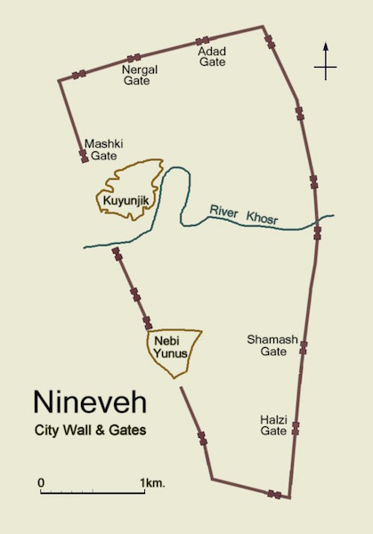 Above is a simpli ed plan of ancient Nineveh, showing the city wall and the location of its gateways. (Accessed via Wiki Commons)