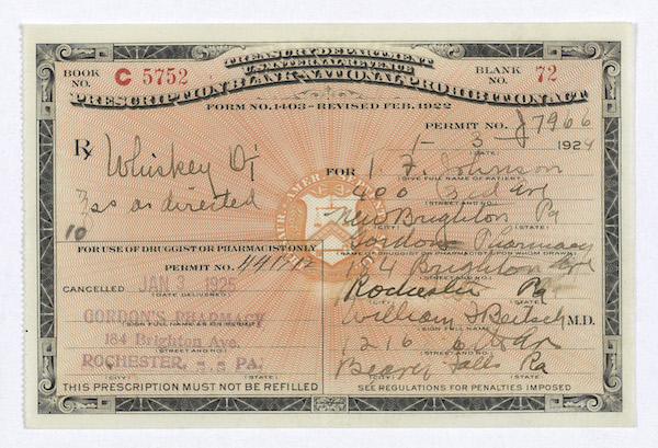 During the Prohibition period, American citizens used every means imaginable to procure alcoholic beverages. Drinks were even acquired on medical grounds. National pressure nally caused the revocation of Prohibition. Treasury Department. National Archives. (Accessed via Wiki Commons)