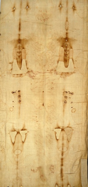 A frontal view of the Shroud of Turin in natural light. © 1978 Barrie M. Schwortz Collection, STERA, Inc. All Rights Reserved