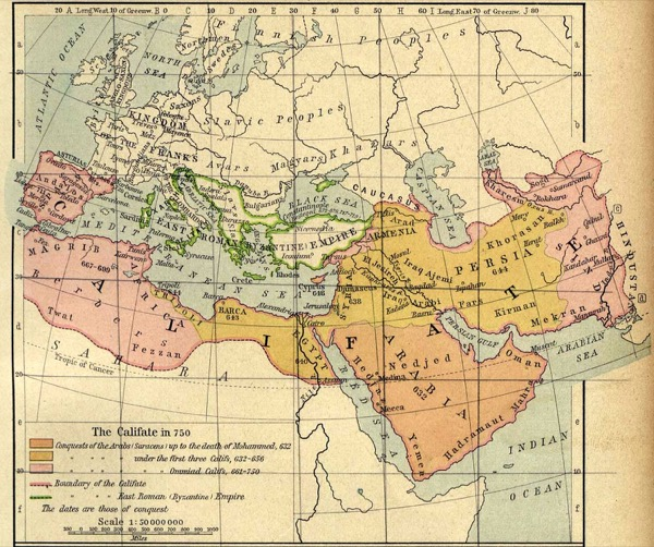 This map, published in 1926 in The Historical Atlas by William Shepherd, depicts the expansion of the Muslim world from the time of the Holy Prophetsa, through the Umayyad caliphate in 750 A.D. Courtesy The General Libraries at the University of Texas at Austin
